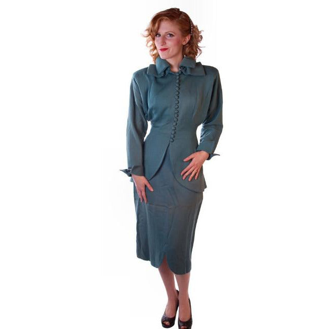 Vintage Ladies Gabardine  Suit  Lilli Ann Wool Suit Fantastic 1940S NOS Small - The Best Vintage Clothing  - 1