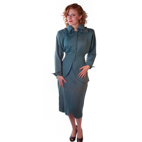 Vintage Ladies Gabardine  Suit  Lilli Ann Wool Suit Fantastic 1940S NOS Small