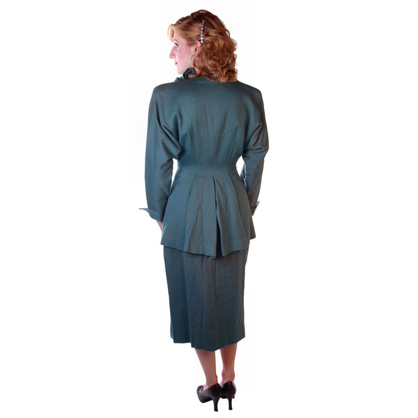 Vintage Ladies Gabardine  Suit  Lilli Ann Wool Suit Fantastic 1940S NOS Small - The Best Vintage Clothing  - 6