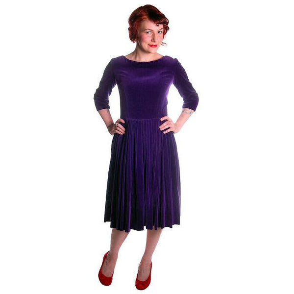 Vintage Dress Full Skirt Grape Purple Velvet  1950's 37-26-Free - The Best Vintage Clothing  - 3