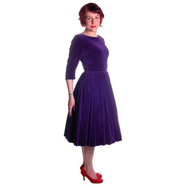 Vintage Dress Full Skirt Grape Purple Velvet  1950's 37-26-Free - The Best Vintage Clothing  - 4