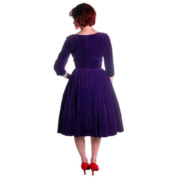 Vintage Dress Full Skirt Grape Purple Velvet  1950's 37-26-Free - The Best Vintage Clothing  - 2