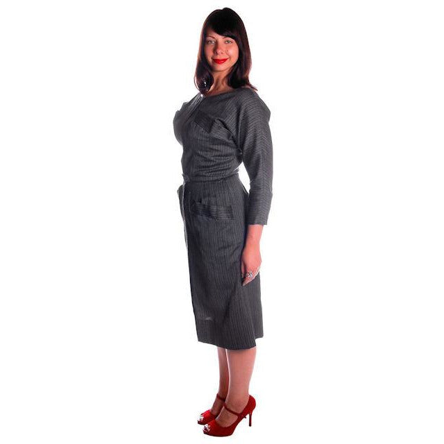 Vintage Charcoal Gray Silk/ Wool Blend Day Dress 1950s 40-31-44 Fitted - The Best Vintage Clothing  - 1