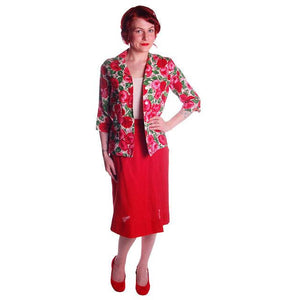 "Vintage Red Linen Skirt & Print Blouse Salon Lentheric  1950s 25"" Waist - The Best Vintage Clothing  - 1"