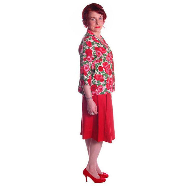 "Vintage Red Linen Skirt & Print Blouse Salon Lentheric  1950s 25"" Waist - The Best Vintage Clothing  - 2"