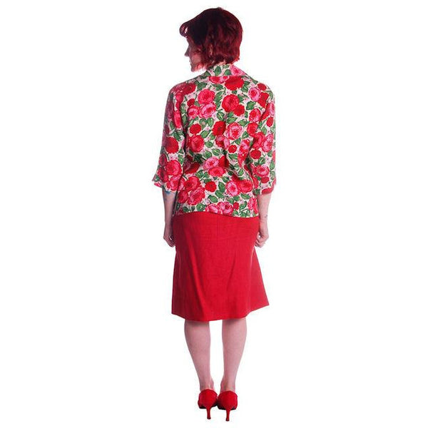 "Vintage Red Linen Skirt & Print Blouse Salon Lentheric  1950s 25"" Waist - The Best Vintage Clothing  - 4"