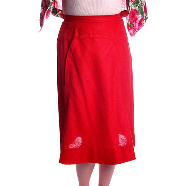 "Vintage Red Linen Skirt & Print Blouse Salon Lentheric  1950s 25"" Waist - The Best Vintage Clothing  - 3"