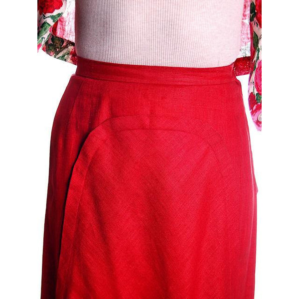 "Vintage Red Linen Skirt & Print Blouse Salon Lentheric  1950s 25"" Waist - The Best Vintage Clothing  - 5"