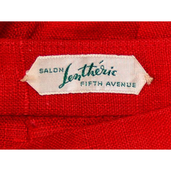 "Vintage Red Linen Skirt & Print Blouse Salon Lentheric  1950s 25"" Waist - The Best Vintage Clothing  - 7"