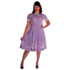 Vintage Purple & White Cotton Day Dress Ann Taylor 1950s 39-30-Free - The Best Vintage Clothing  - 6