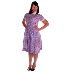 Vintage Purple & White Cotton Day Dress Ann Taylor 1950s 39-30-Free - The Best Vintage Clothing  - 2