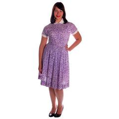 Vintage Purple & White Cotton Day Dress Ann Taylor 1950s 39-30-Free - The Best Vintage Clothing  - 3