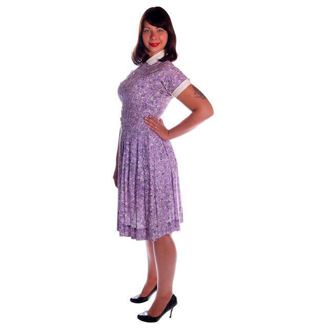 Vintage Purple & White Cotton Day Dress Ann Taylor 1950s 39-30-Free - The Best Vintage Clothing  - 1