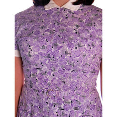 Vintage Purple & White Cotton Day Dress Ann Taylor 1950s 39-30-Free - The Best Vintage Clothing  - 8