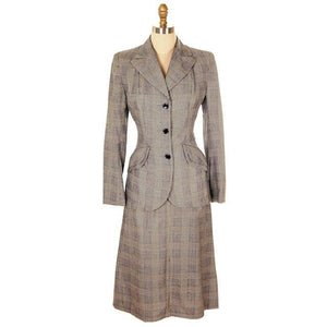 Vintage Suit Plaid Wool Pencil Skirt 1940s New w/Tags Womens - The Best Vintage Clothing  - 1