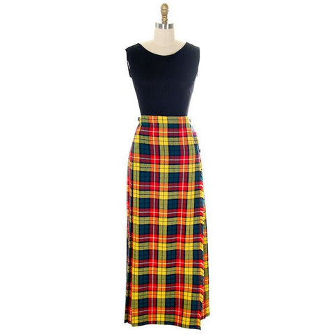 Vintage Ladies Scottish Maxi Skirt Made In Scotland Laird-Portch Small