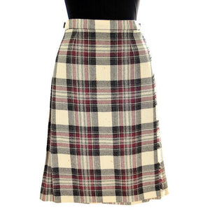 Vintage Scottish Plaid Kilt Skirt Pitlochry 100% Wool - The Best Vintage Clothing  - 1