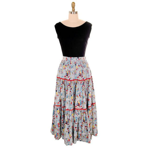 Vintage Cotton Skirt Square Dance Print 1940s Colorful & Fun! Small