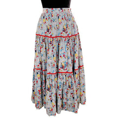 Vintage Cotton Skirt Square Dance Print 1940s Colorful & Fun! Small - The Best Vintage Clothing  - 2