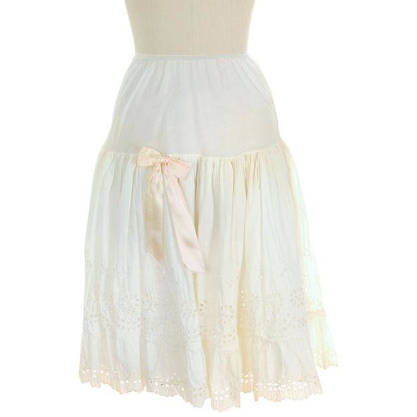 Vintage Can Can Petticoat White Cotton Eyelet 1950s New w/ Tags Size S - The Best Vintage Clothing  - 1