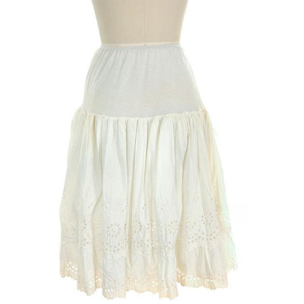 Vintage Can Can Petticoat White Cotton Eyelet 1950s New w/ Tags Size S - The Best Vintage Clothing  - 3