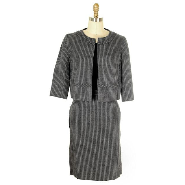 Vintage Ladies Suit Charcoal Gray Pinstripe Harvey Berin 1950s Small - The Best Vintage Clothing  - 1