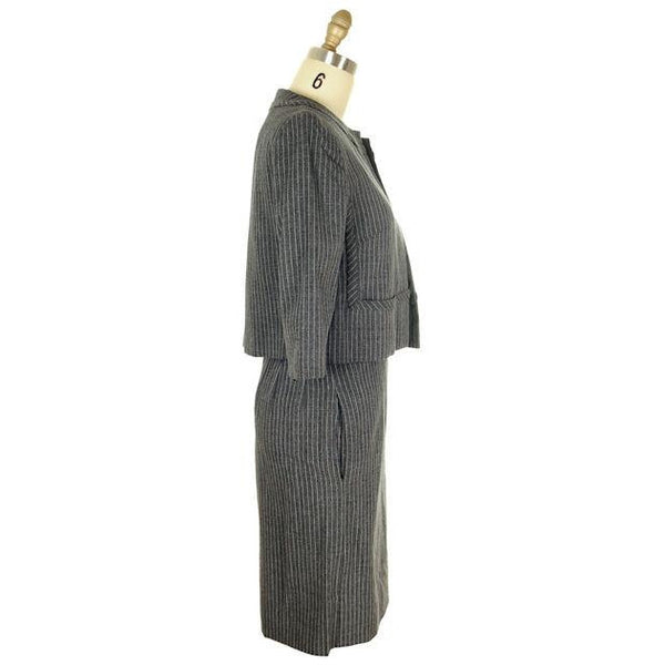 Vintage Ladies Suit Charcoal Gray Pinstripe Harvey Berin 1950s Small - The Best Vintage Clothing  - 2