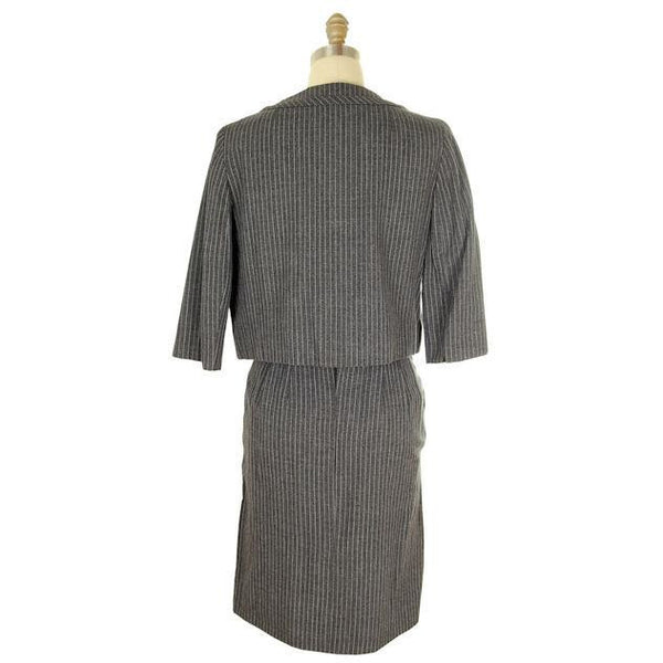 Vintage Ladies Suit Charcoal Gray Pinstripe Harvey Berin 1950s Small - The Best Vintage Clothing  - 3