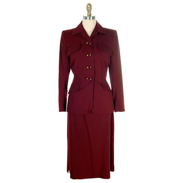 Vintage Ladies Suit Cranberry Wool Gab Super 1940s Small - The Best Vintage Clothing  - 1