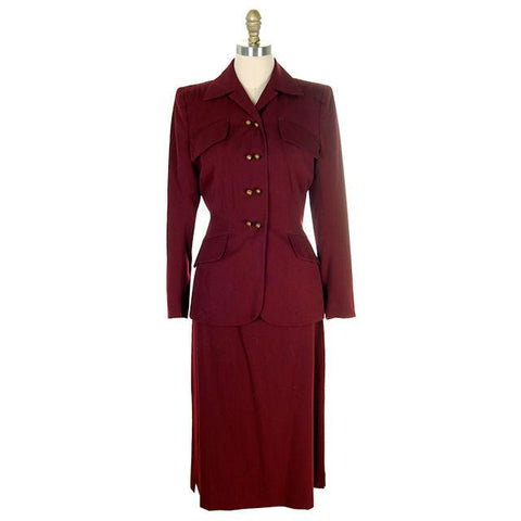 Vintage Ladies Suit Cranberry Wool Gab Super 1940s Small