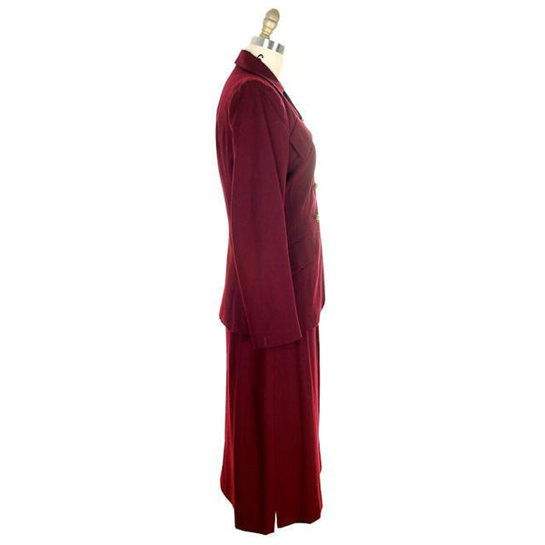 Vintage Ladies Suit Cranberry Wool Gab Super 1940s Small - The Best Vintage Clothing  - 2