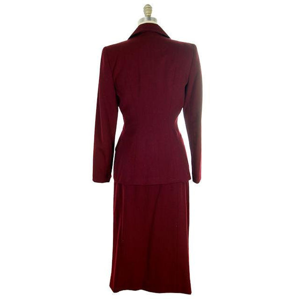Vintage Ladies Suit Cranberry Wool Gab Super 1940s Small - The Best Vintage Clothing  - 3