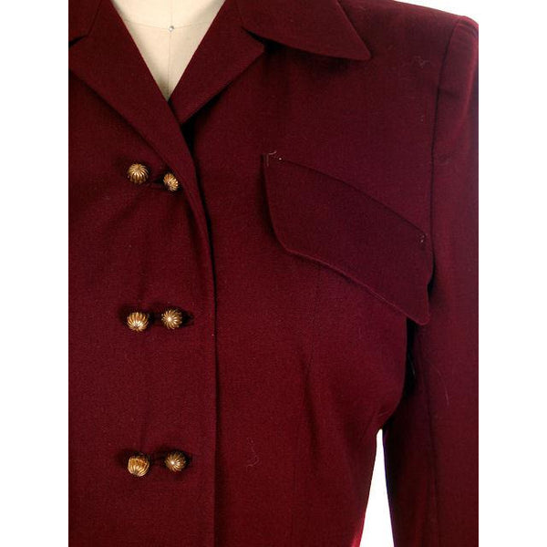 Vintage Ladies Suit Cranberry Wool Gab Super 1940s Small - The Best Vintage Clothing  - 4