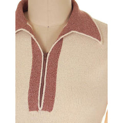Vintage Adolfo Wool Knit Sweater Suit 1970s Small Mocha/Cream - The Best Vintage Clothing  - 4