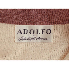 Vintage Adolfo Wool Knit Sweater Suit 1970s Small Mocha/Cream - The Best Vintage Clothing  - 5