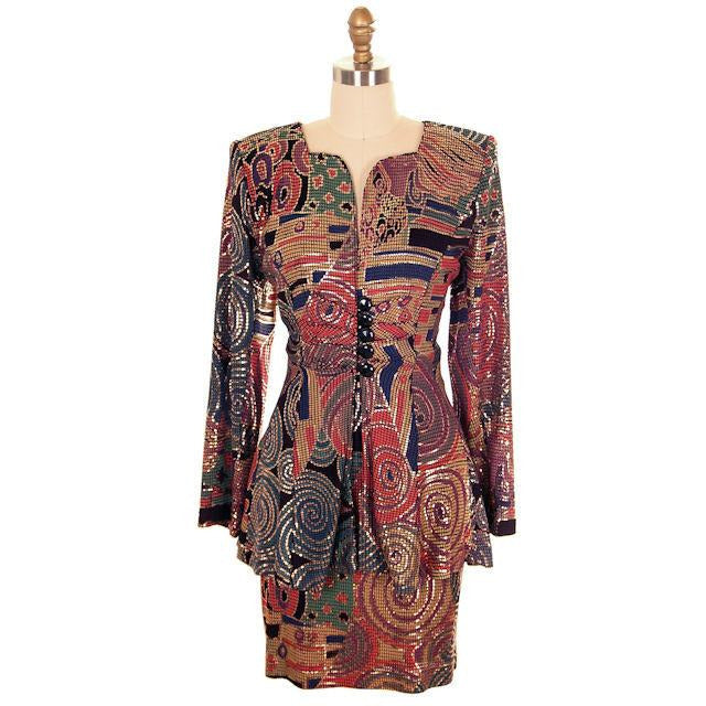 Vintage Ladies Suit Drippy Abstract Metallic Knit Caché 1980s Med - The Best Vintage Clothing  - 1