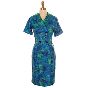 Vintage Summer Ladies Suit Blue Cotton Print 1950s Small - The Best Vintage Clothing  - 1