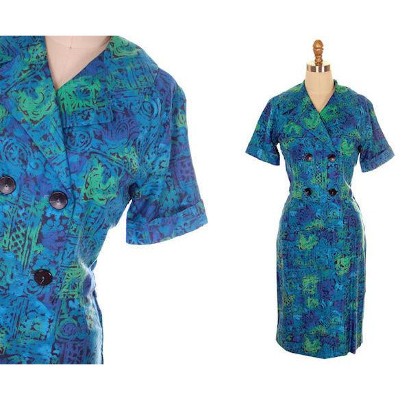 Vintage Summer Ladies Suit Blue Cotton Print 1950s Small - The Best Vintage Clothing  - 4