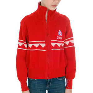 Vintage Red/ Wiite Wool Ski Sweater 1970s Ski School Small - The Best Vintage Clothing  - 1