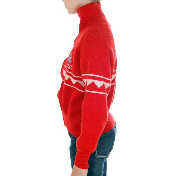Vintage Red/ Wiite Wool Ski Sweater 1970s Ski School Small - The Best Vintage Clothing  - 2