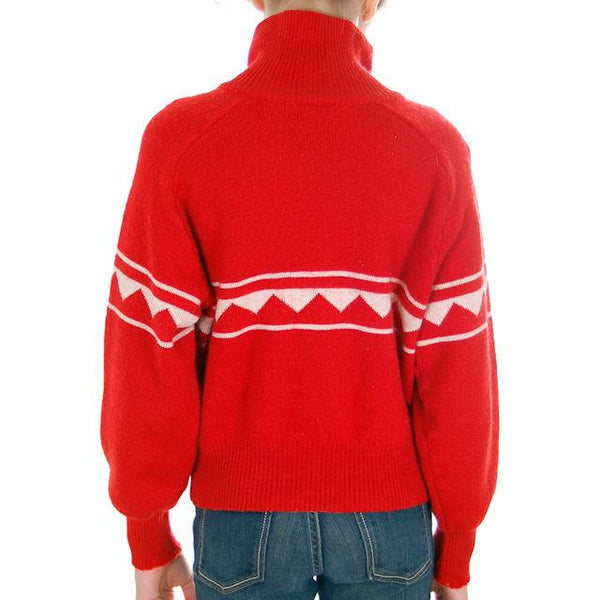 Vintage Red/ Wiite Wool Ski Sweater 1970s Ski School Small - The Best Vintage Clothing  - 3