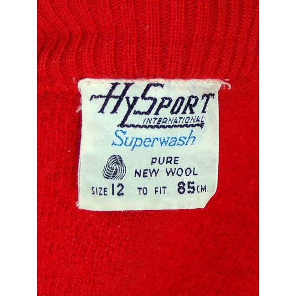 Vintage Red/ Wiite Wool Ski Sweater 1970s Ski School Small - The Best Vintage Clothing  - 5