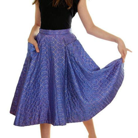 Vintage Quilted Circle Skirt Periwinkle Great Pockets 1950s Small - The Best Vintage Clothing  - 1