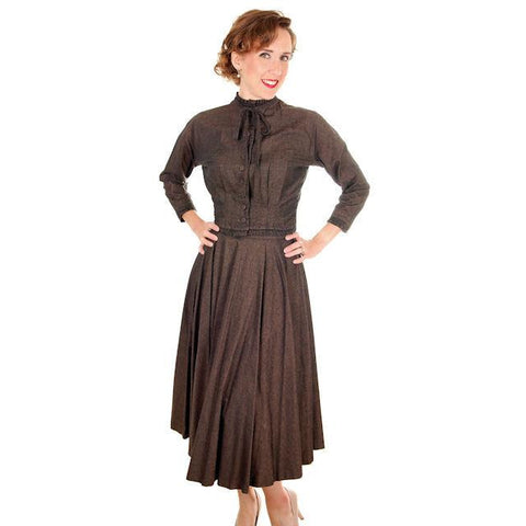 Vintage Ladies Wasp Waist Suit Late 1940s Circle Skirt Brown36-23-Free