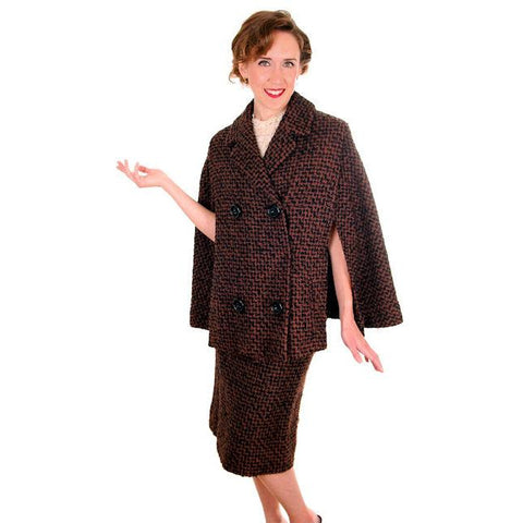 Vintage Ladies Suit Brown & Black Boucle Cape Jacket Pencil Skirt 1950s Small