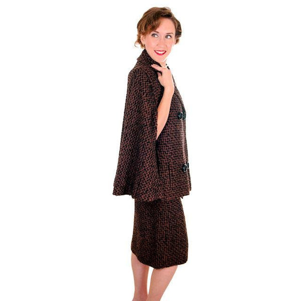 Vintage Ladies Suit Brown & Black Boucle Cape Jacket Pencil Skirt 1950s Small - The Best Vintage Clothing  - 2
