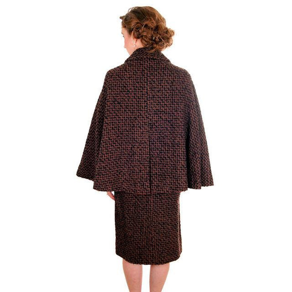 Vintage Ladies Suit Brown & Black Boucle Cape Jacket Pencil Skirt 1950s Small - The Best Vintage Clothing  - 3