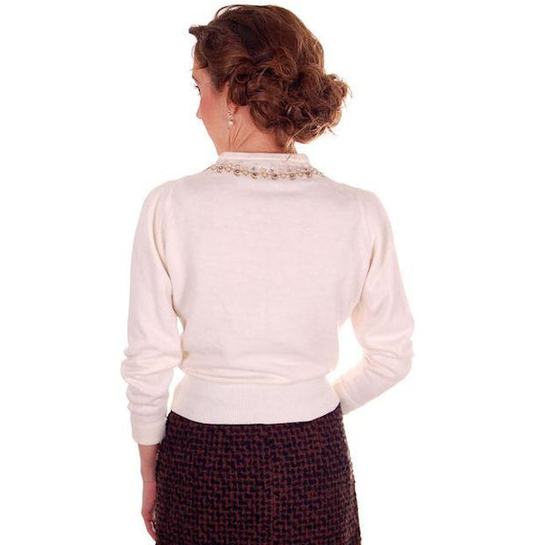 Vintage Ladies Ivory Sweater Embellished w Beads & Rhinestones 1950s M - The Best Vintage Clothing  - 3