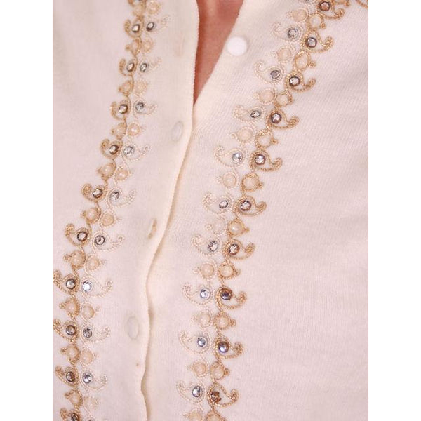 Vintage Ladies Ivory Sweater Embellished w Beads & Rhinestones 1950s M - The Best Vintage Clothing  - 4