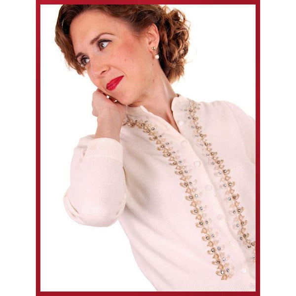 Vintage Ladies Ivory Sweater Embellished w Beads & Rhinestones 1950s M - The Best Vintage Clothing  - 6